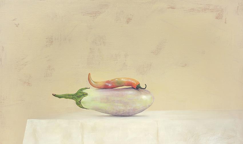 AZA031-Brinjal-Chilli-Ahmad-Zakii-Anwar-2015-acrylic-on-linen-41-x-69-cm