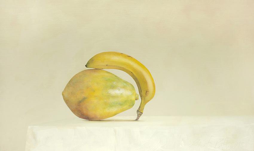 AZA036-Papaya-Banana-Ahmad-Zakii-Anwar-2015-acrylic-on-linen-41-x-69-cm
