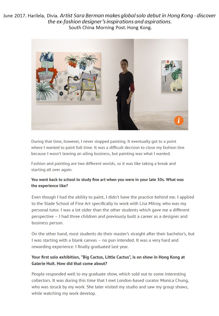 SCMP | Artist Sara Berman makes global solo debut in Hong