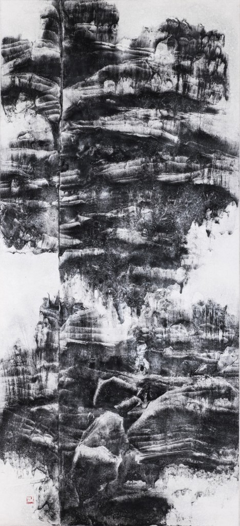 OCH-0065,Reflection from Above 天镜,2016,150x68cm,Ink on Rice Paper